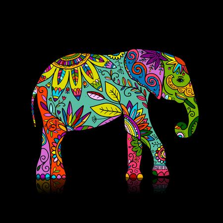 Elefant verziert, Skizze für Ihr Design