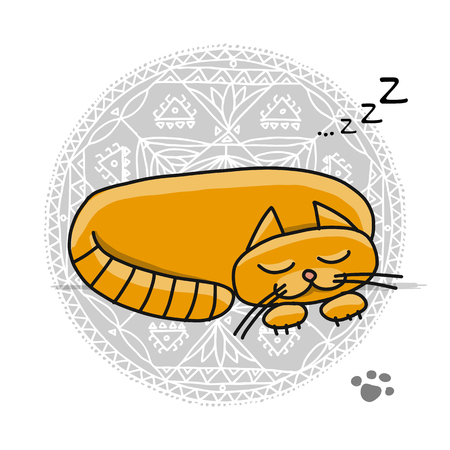 Cute sleeping cat, sketch for your design