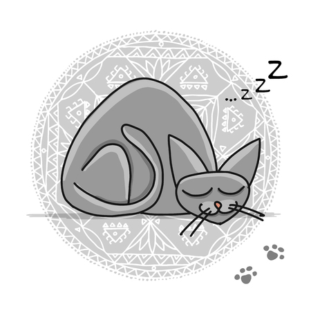 Cute sleeping cat, sketch for your design Banque d'images - 101953538