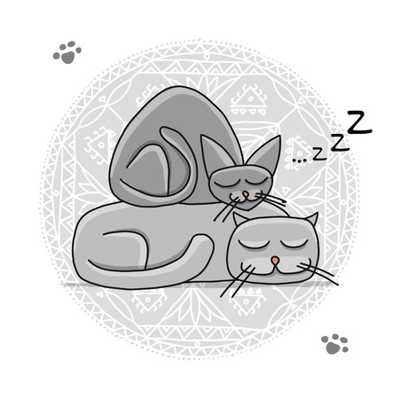 Sleeping cats, sketch for your design Archivio Fotografico - 101953504
