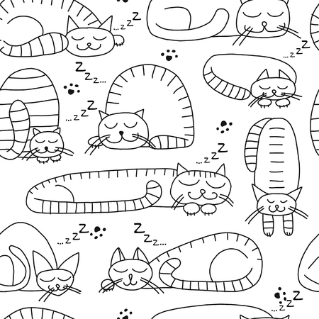 Sleeping cats, seamless pattern for your design