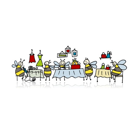 Bees on fair,sketch for your design Stock Illustratie