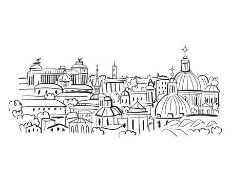Cityscape background, sketch for your design Ilustração