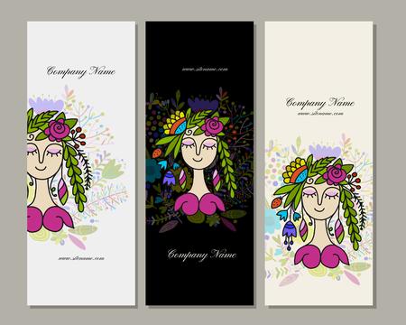 Banners design, floral fairy Illustration