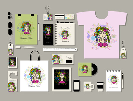 Corporate flat mock-up template, floral girl design Reklamní fotografie