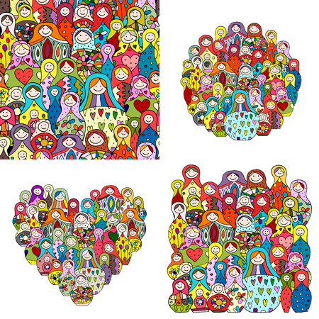 Collection of russian nesting dolls, Matryoshka for your design Stock Illustratie