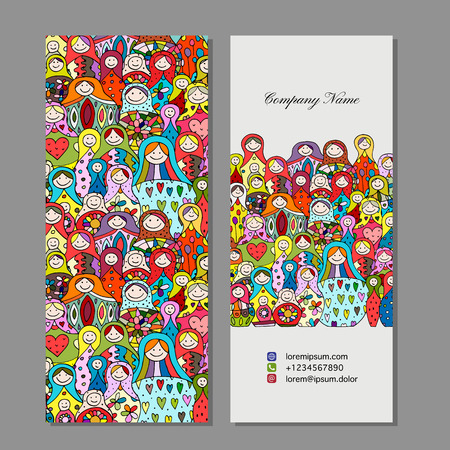 Business cards set, Matryoshka, russian nesting dolls design Standard-Bild - 102106945