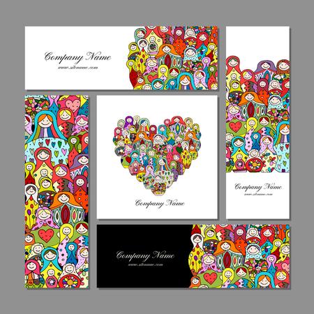 Business cards set, Matryoshka, russian nesting dolls design