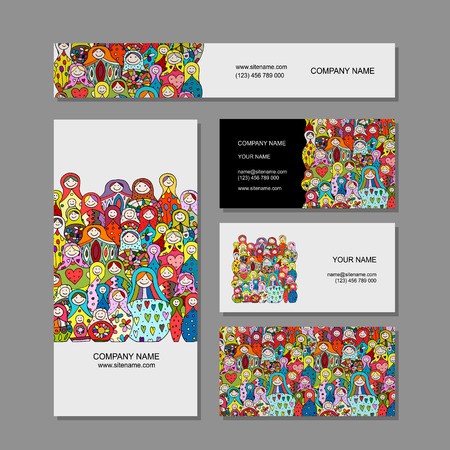 Business cards set, Matryoshka, russian nesting dolls design