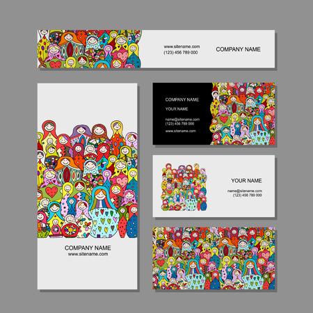 Visitekaartjes set, Matryoshka, Russische poppen ontwerp