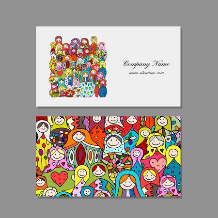 Business cards set, Matryoshka, russian nesting dolls design Standard-Bild - 102106947