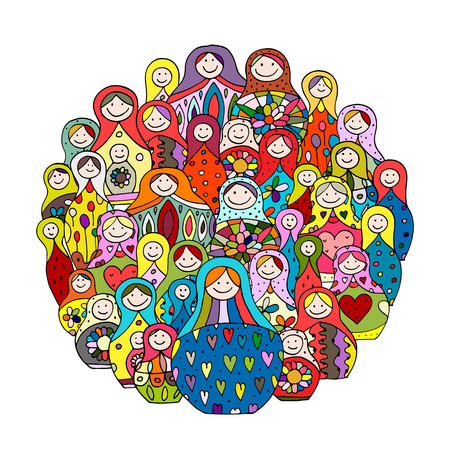 Collection of russian nesting dolls, Matryoshka for your design Иллюстрация