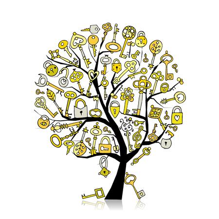 Keys collection, sketch for your design Banque d'images - 102106953