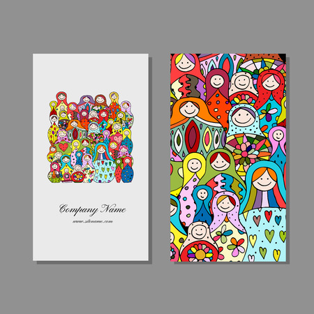 Business cards set, Matryoshka, russian nesting dolls design Standard-Bild - 102106951