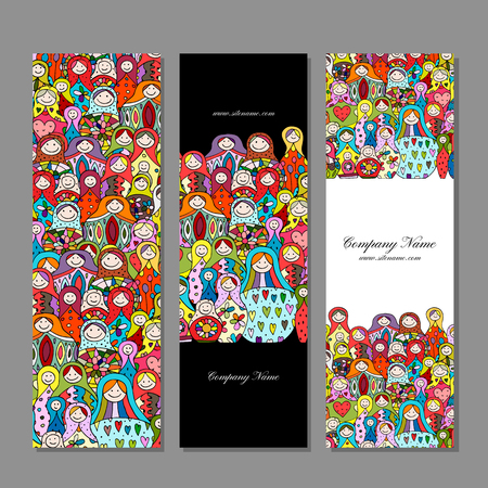Banners set, Matryoshka, russian nesting dolls design Stock Photo
