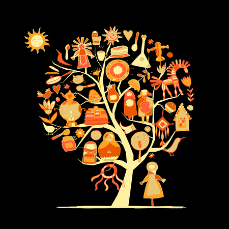Maslenitsa or Shrovetide. Art tree for your design