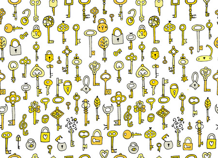 Keys collection, seamless pattern for your design Illustration