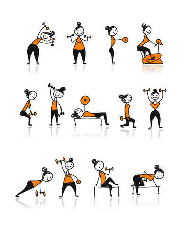 Girls doing sport exercises, sketch for your design