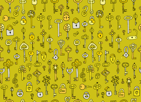 Keys collection, seamless pattern for your design Иллюстрация