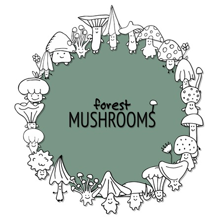 Funny mushrooms frame, sketch for your design