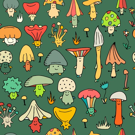 Smiling mushrooms, seamless pattern for your design