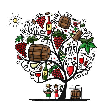 Wine tree, sketch for your design Illustration