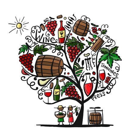 Wine tree, sketch for your design Stock Vector - 102614340