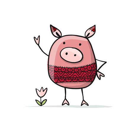 Cute piggy for your design Çizim