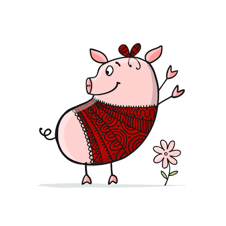 Cute piggy for your design Illustration