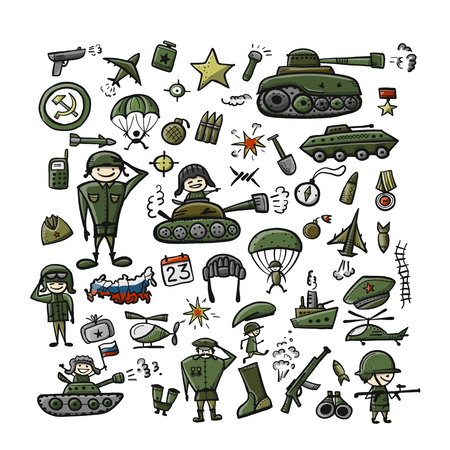 Set of military icons, sketch for your design Ilustração