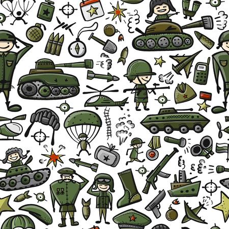 Military sketch, seamless pattern for your design Ilustração