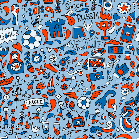 Soccer tournament, football league team international championship. Seamless pattern for your design. Vector illustration Ilustracja