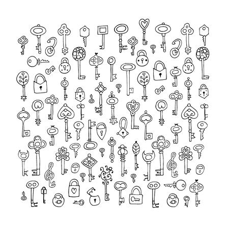 Keys collection, sketch for your design. Vector illustration Иллюстрация