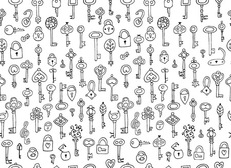 Keys collection, seamless pattern for your design. Vector illustration
