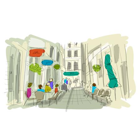 Old european street, sketch for your design Stock Illustratie