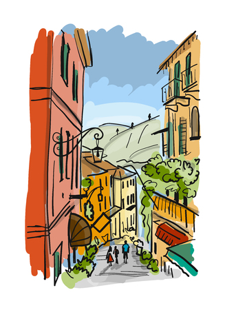 Old european street, sketch for your design Illusztráció