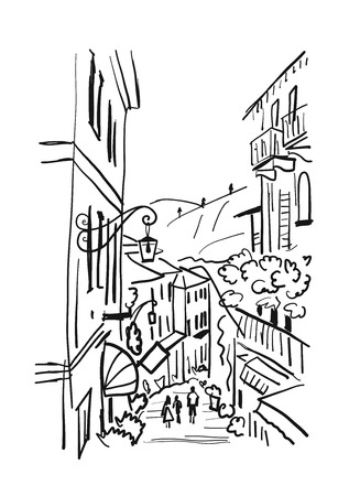 Old european street, sketch for your design Ilustracja