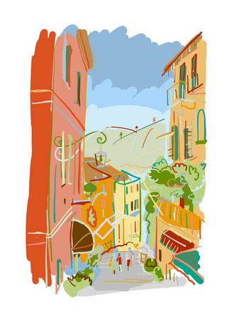 Old european street, sketch for your design  イラスト・ベクター素材