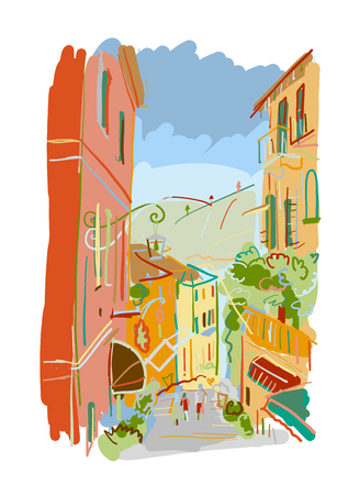 Old european street, sketch for your design Illustration