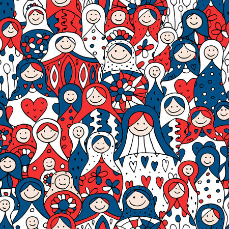 Seamless pattern with Russian nesting dolls, Matryoshka Illustration