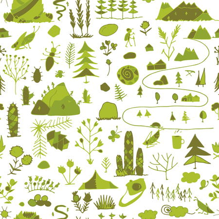 Wild field, nature seamless pattern for your design