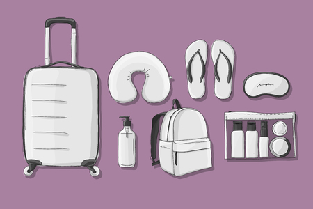 Travel set mockup, sketch for your design Ilustracja