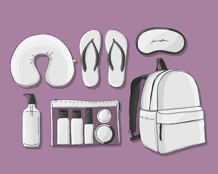Travel set mockup, sketch for your design Illustration