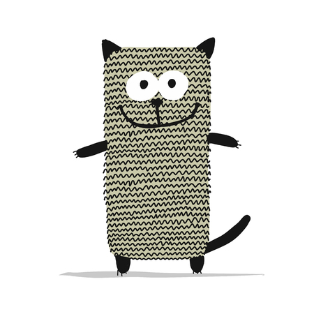 Cute knitting cat, sketch for your design 스톡 콘텐츠 - 102805909