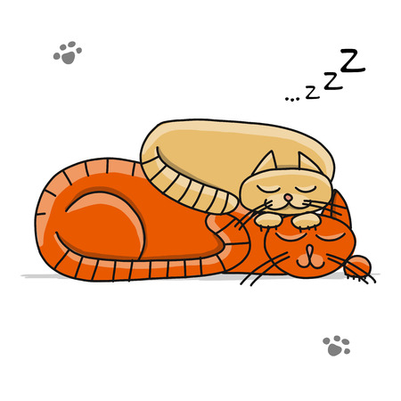 Cute sleeping cats, sketch for your design. Vector illustration Ilustracja