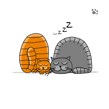 Cute sleeping cats, sketch for your design. Vector illustration Vettoriali