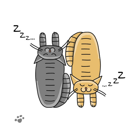 Cute sleeping cats, sketch for your design. Vector illustration  イラスト・ベクター素材