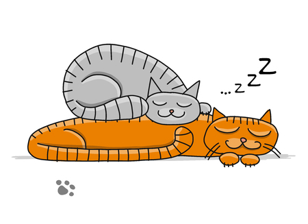 Cute sleeping cats, sketch for your design. Vector illustration