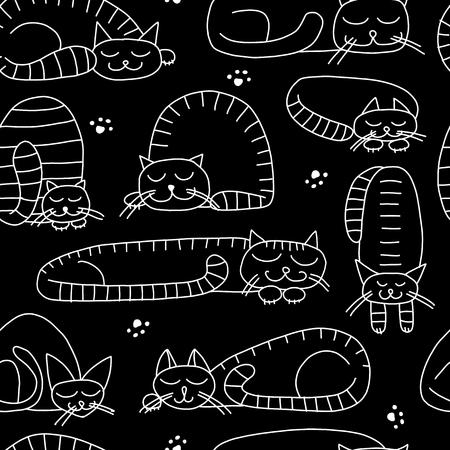 Sleeping cats, seamless pattern for your design. Vector illustration Ilustração