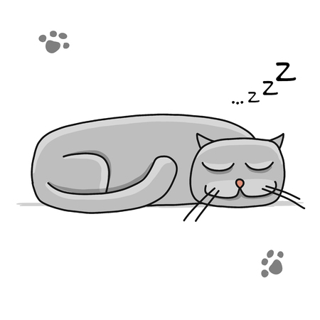 Cute sleeping cat, sketch for your design. Vector illustration